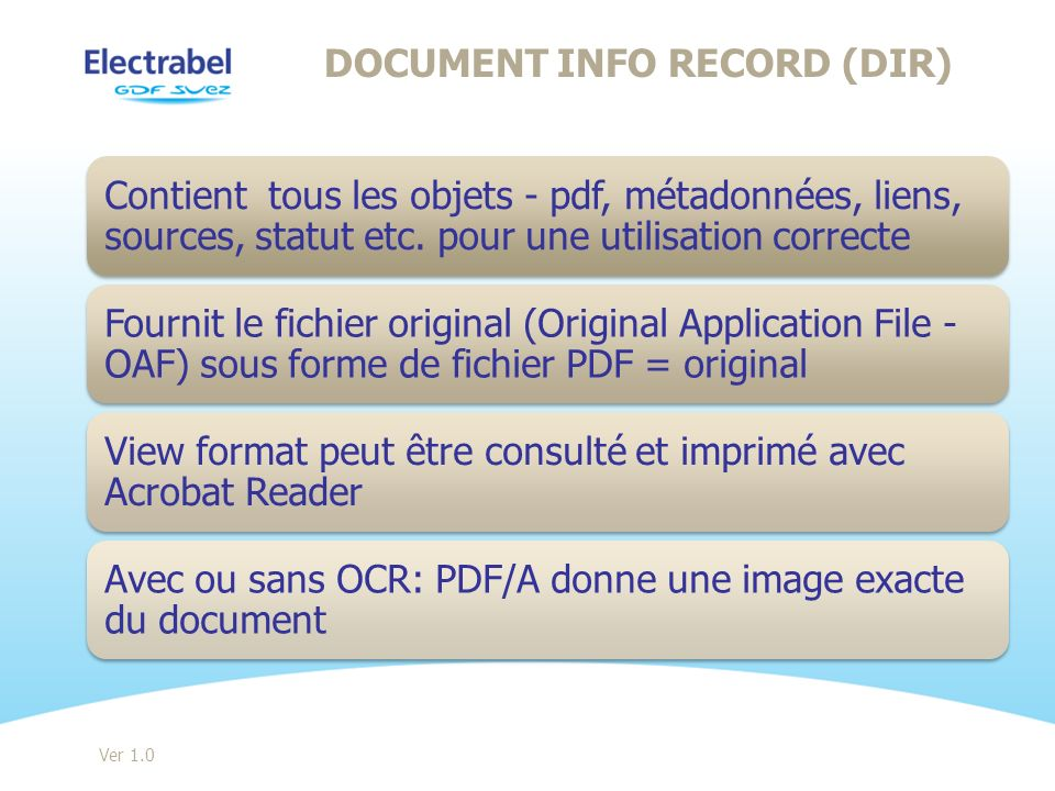 Document info record (DIR)