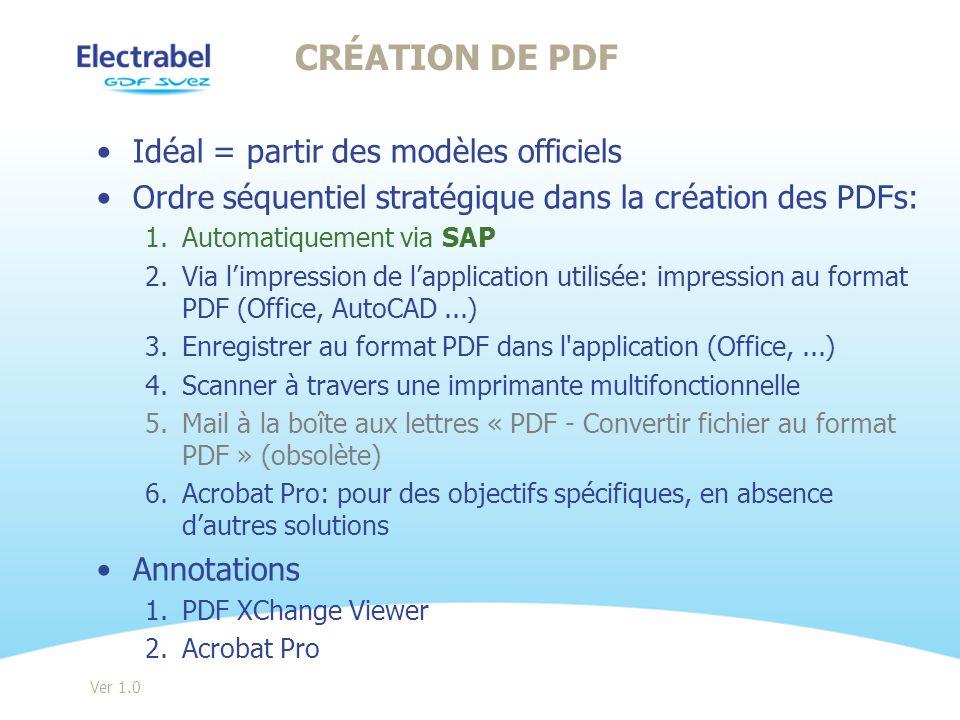 Création de pdf Idéal = partir des modèles officiels