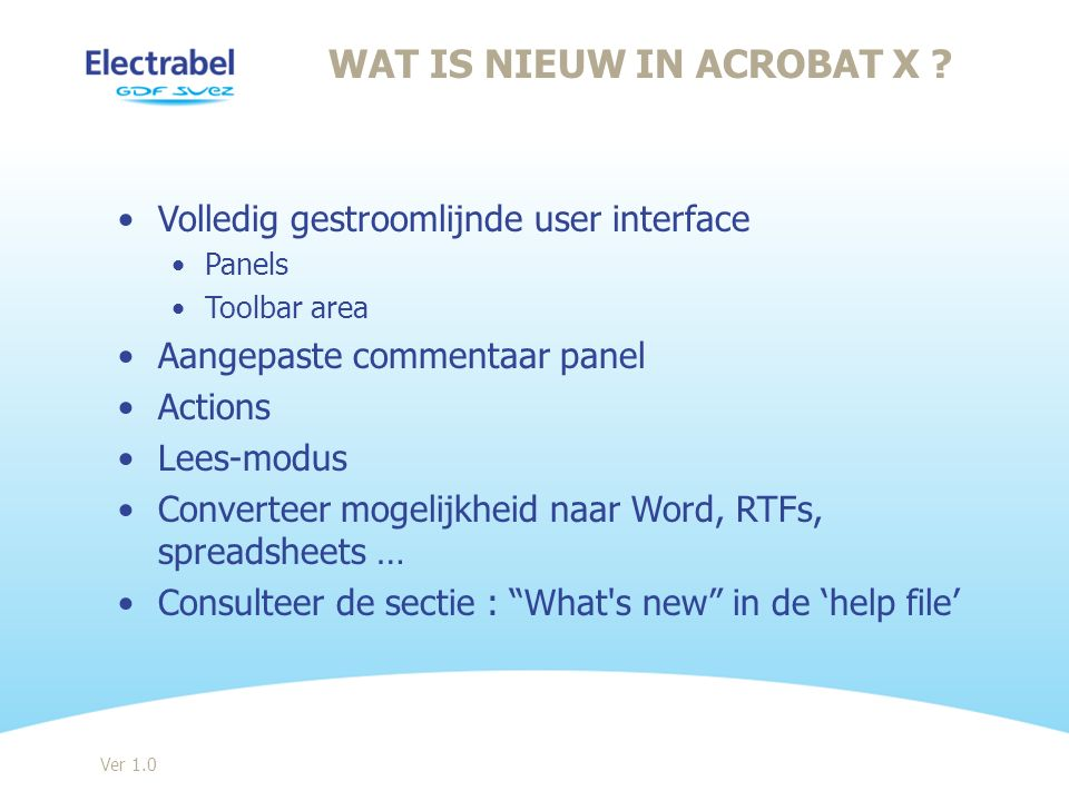 Wat is nieuw in Acrobat X