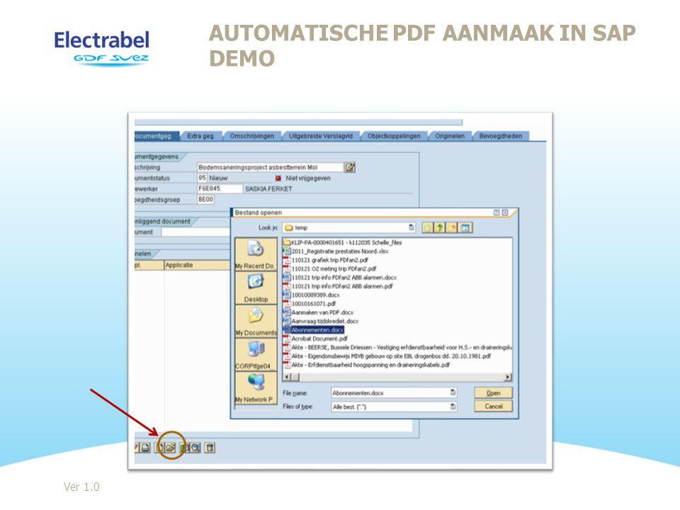 AutomatiSche PDF aanmaak in SAP DEMO