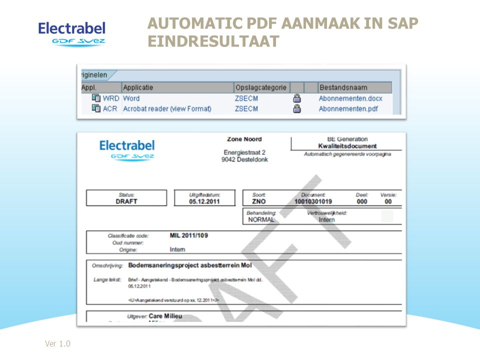 Automatic PDF aanmaak in SAP Eindresultaat