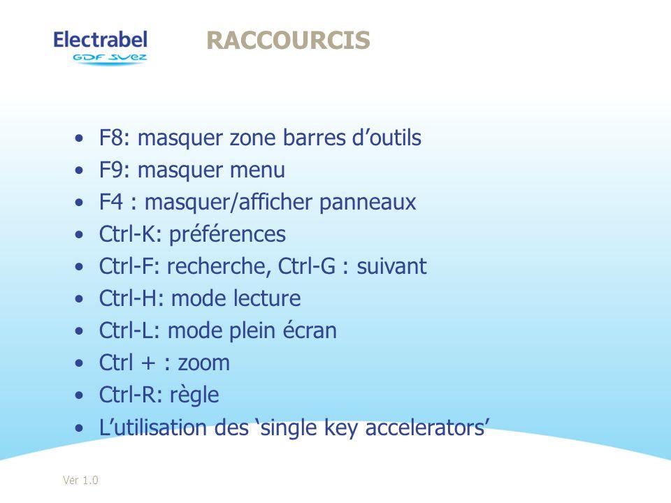 Raccourcis F8: masquer zone barres d'outils F9: masquer menu