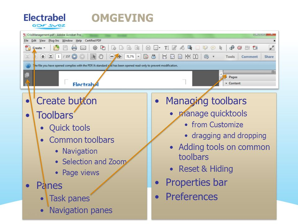 Omgeving Create button Toolbars Panes Managing toolbars Properties bar