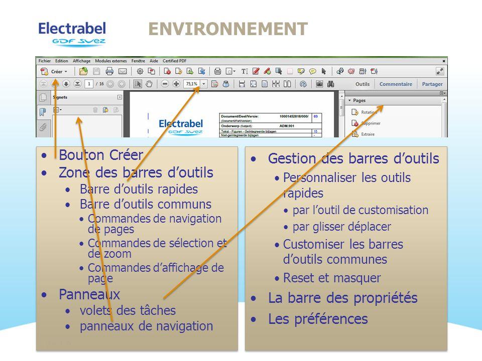 Environnement Bouton Créer Zone des barres d'outils Panneaux