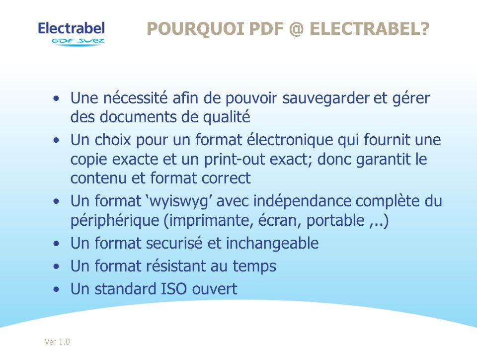 Pourquoi PDF @ Electrabel
