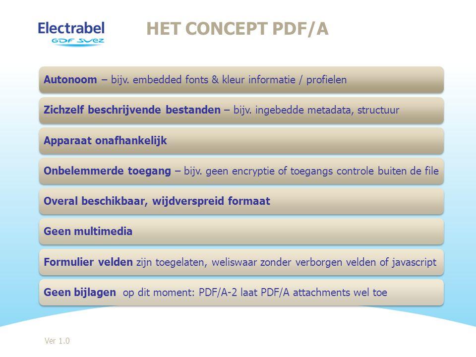 Het concept PDF/A Autonoom – bijv. embedded fonts & kleur informatie / profielen.