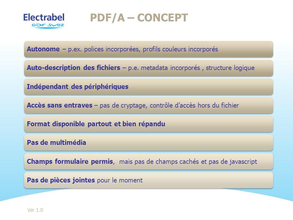 PDF/A – Concept Autonome – p.ex. polices incorporées, profils couleurs incorporés.