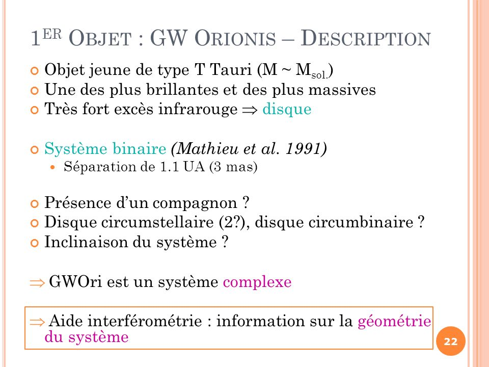 1er Objet : GW Orionis – Description