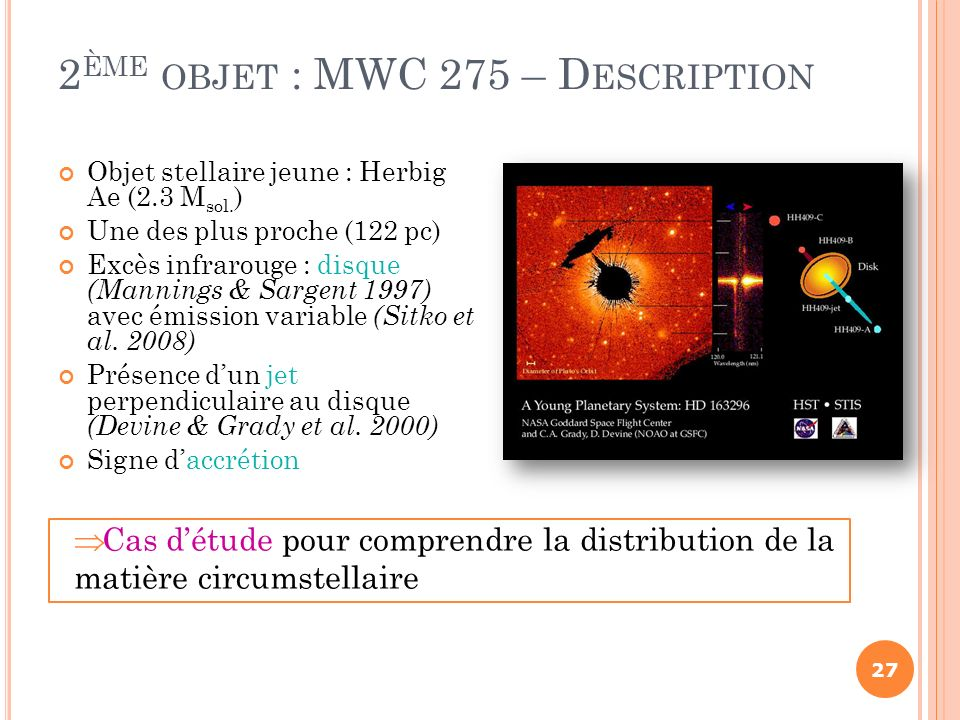 2ème objet : MWC 275 – Description