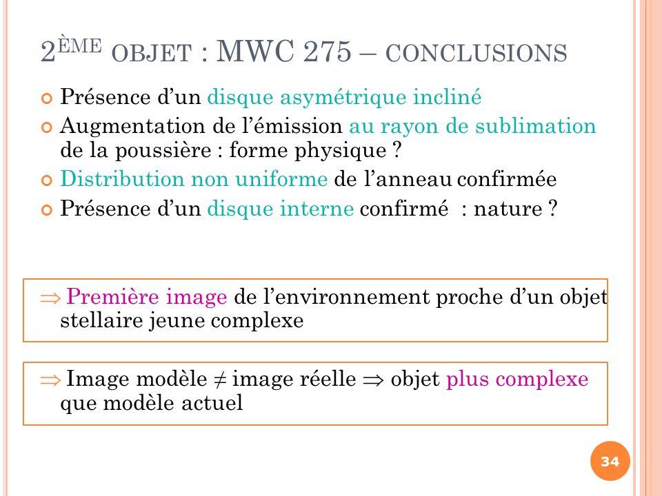 2ème objet : MWC 275 – conclusions