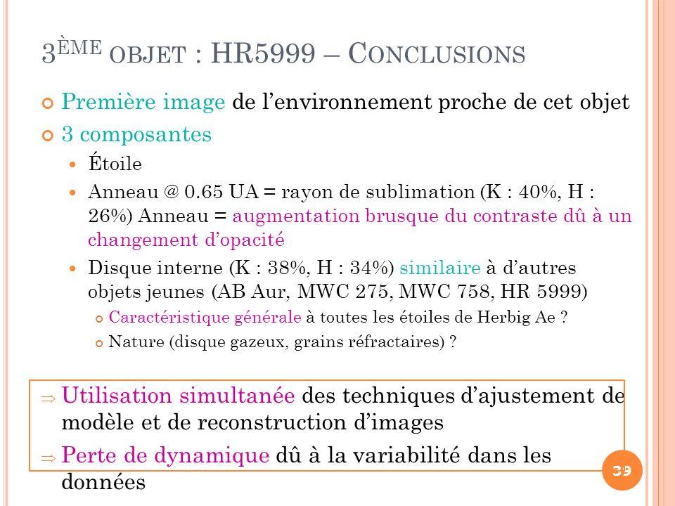 3ème objet : HR5999 – Conclusions