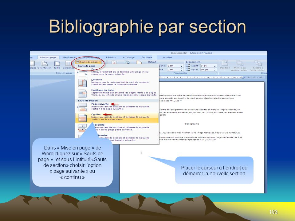 Bibliographie par section