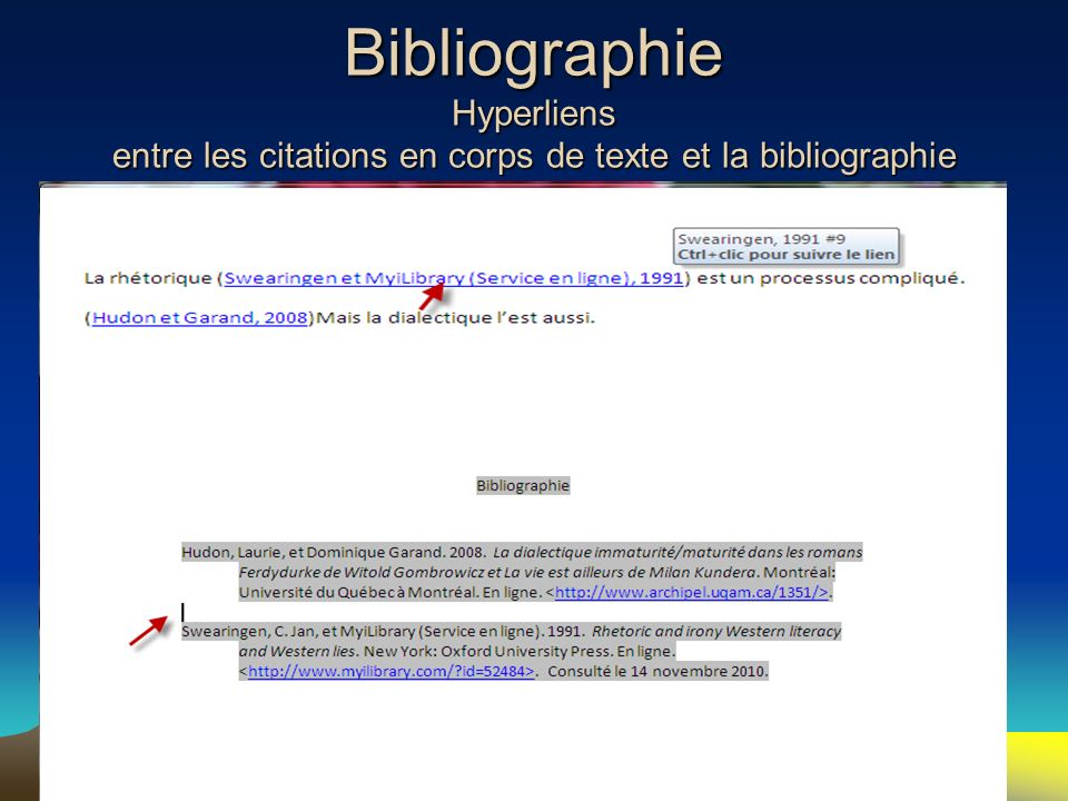Bibliographie Hyperliens entre les citations en corps de texte et la bibliographie