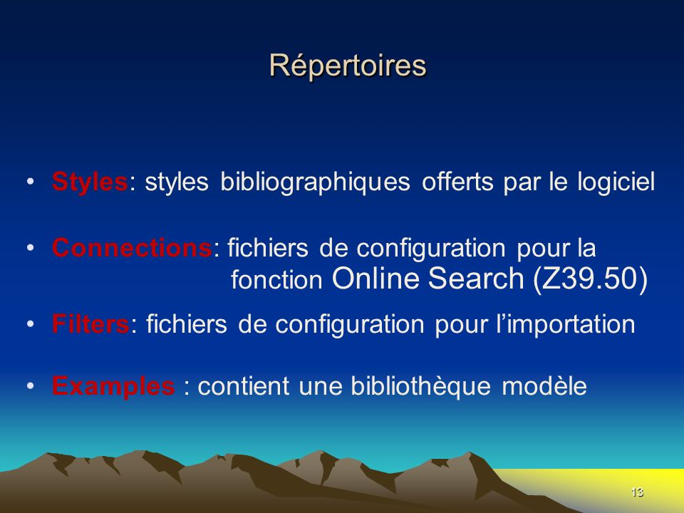 Répertoires Styles: styles bibliographiques offerts par le logiciel