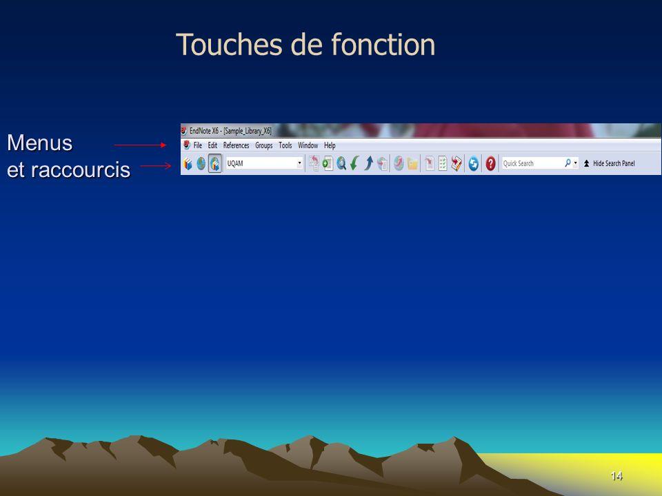 Touches de fonction Menus et raccourcis
