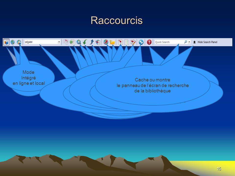Raccourcis Mode en ligne Mode Local Fait apparaître l'écran de Word