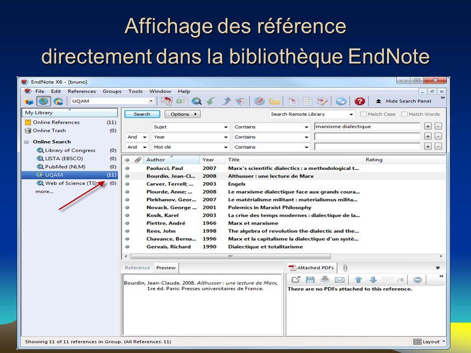 Affichage des référence directement dans la bibliothèque EndNote