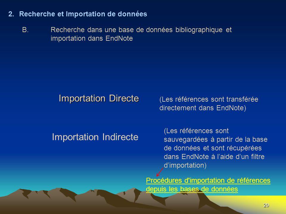 Importation Directe Importation Indirecte