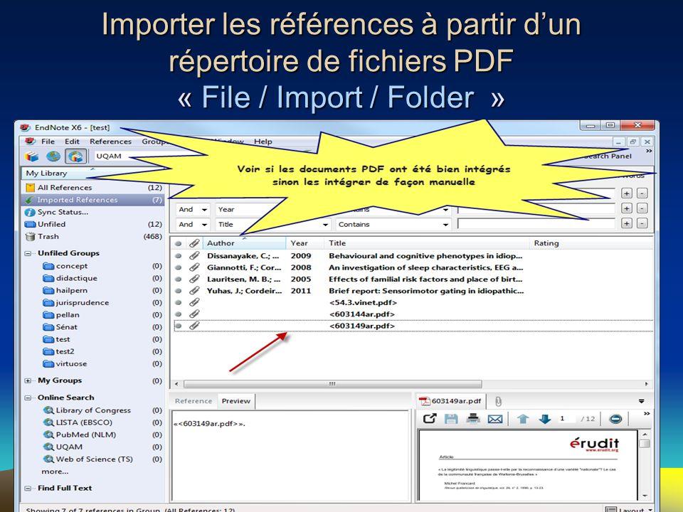 Importer les références à partir d'un répertoire de fichiers PDF « File / Import / Folder »