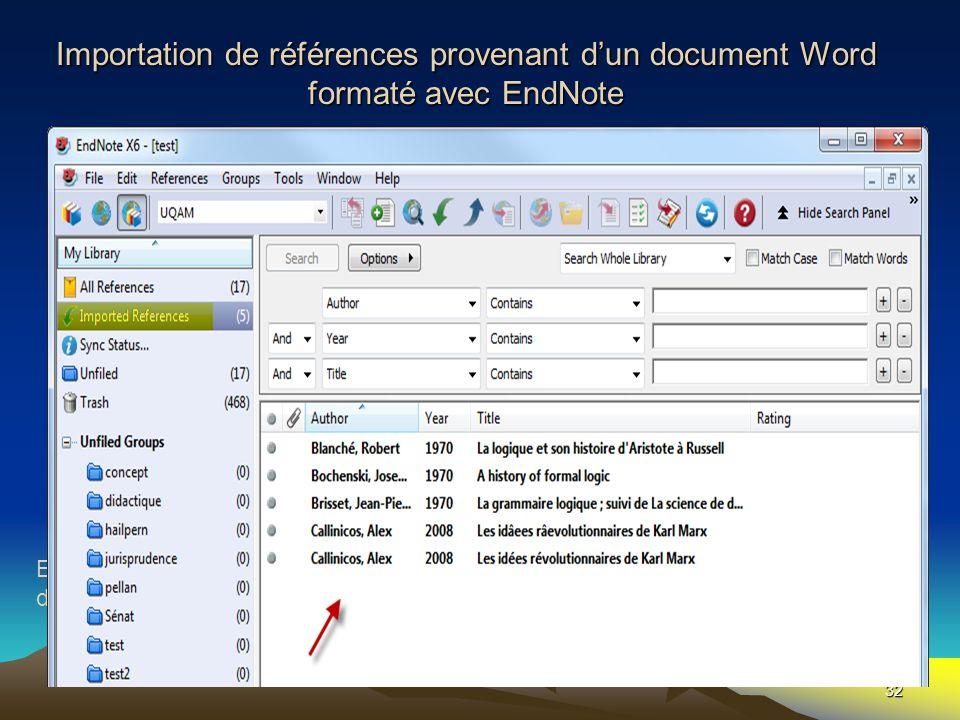 Importation de références provenant d'un document Word formaté avec EndNote
