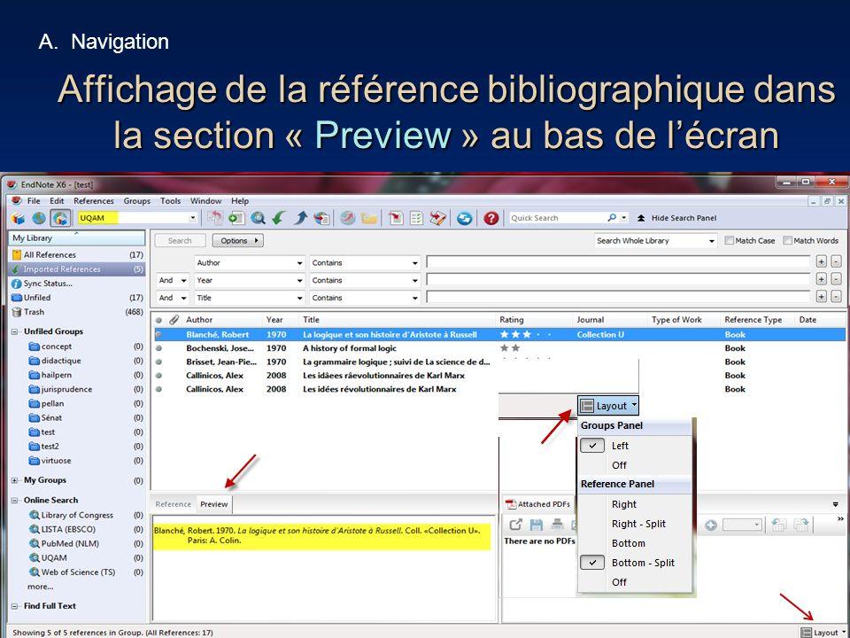 Navigation Affichage de la référence bibliographique dans la section « Preview » au bas de l'écran