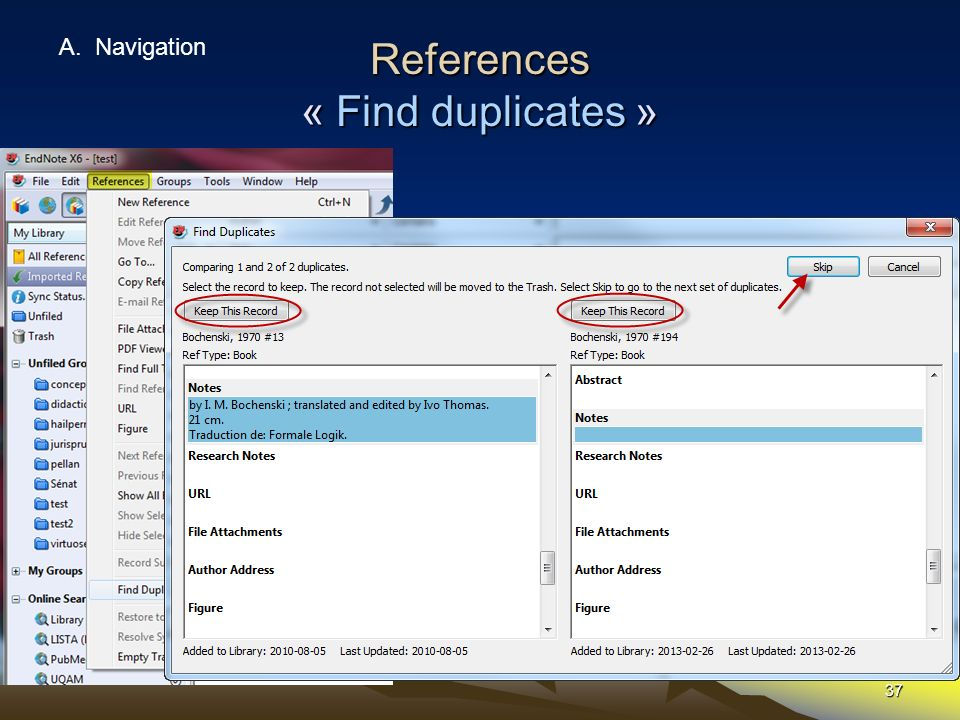 References « Find duplicates »