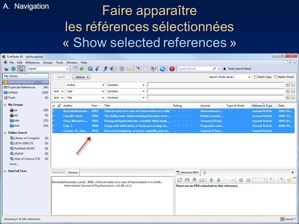 Navigation Faire apparaître les références sélectionnées « Show selected references »