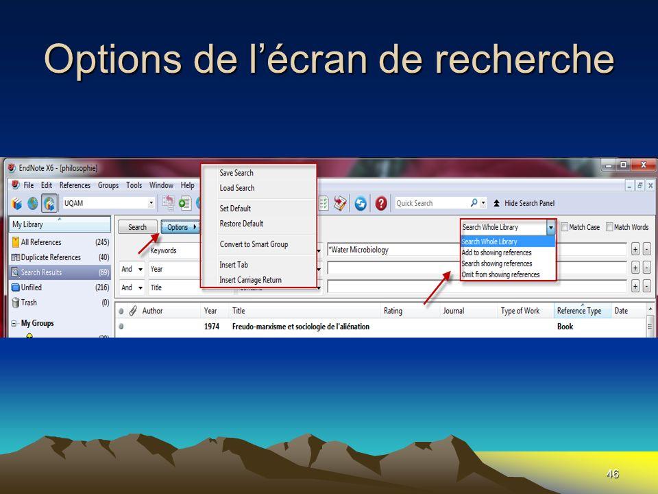 Options de l'écran de recherche
