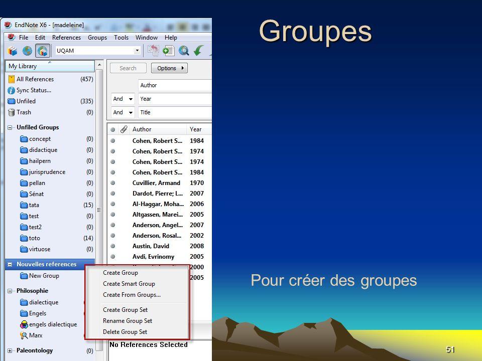 Les Groupes Pour créer des groupes
