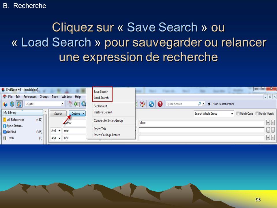 Recherche Cliquez sur « Save Search » ou « Load Search » pour sauvegarder ou relancer une expression de recherche.