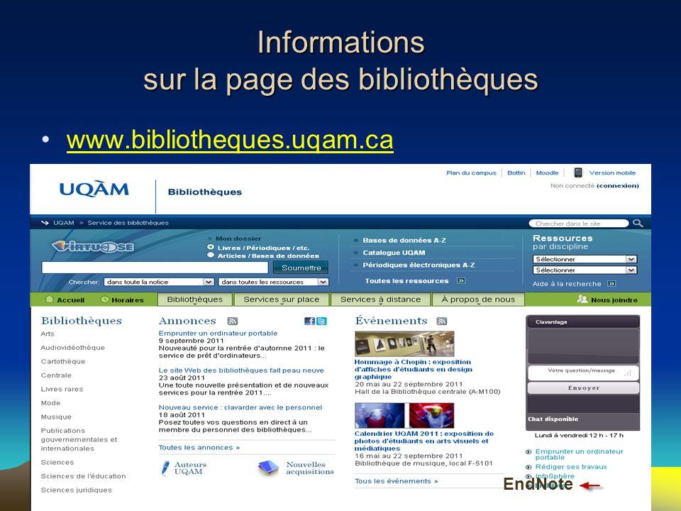 Informations sur la page des bibliothèques