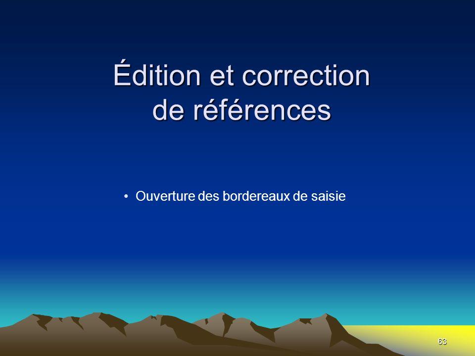 Édition et correction de références