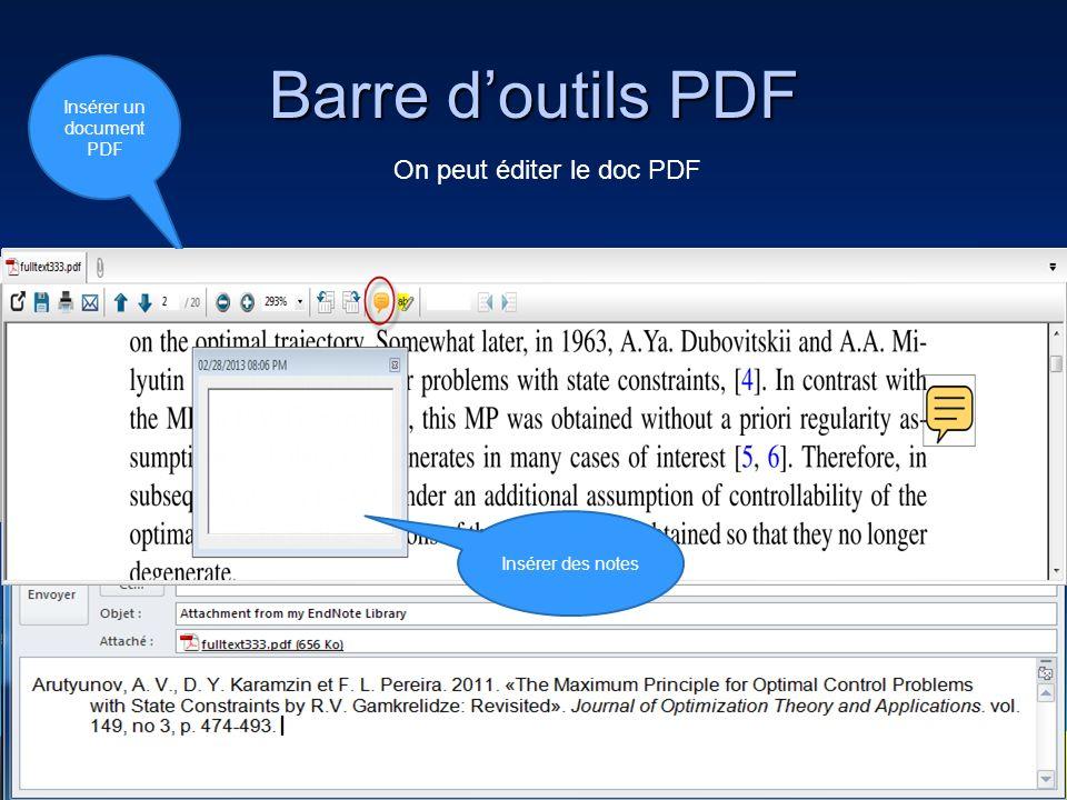 Barre d'outils PDF On peut éditer le doc PDF Zoom