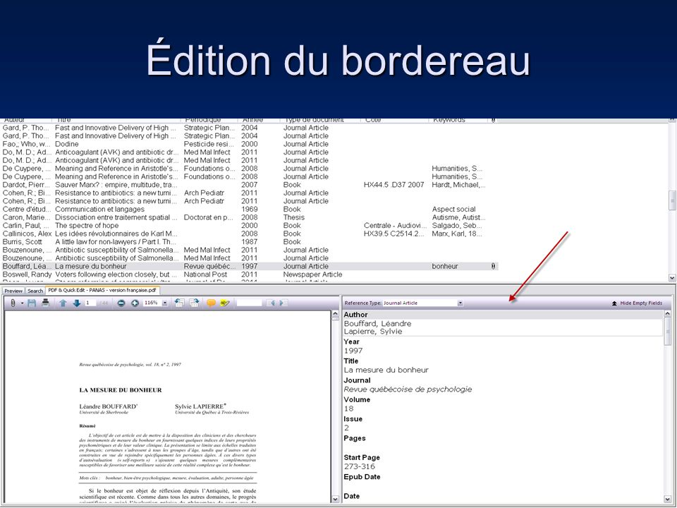 Édition du bordereau