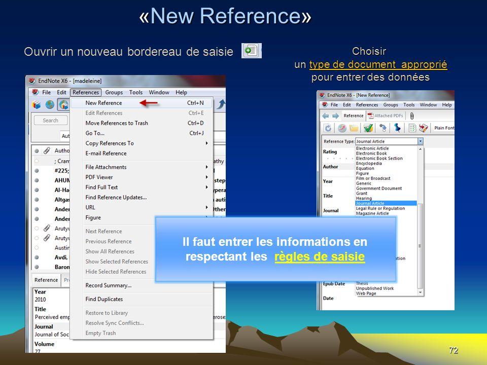 Choisir un type de document approprié pour entrer des données