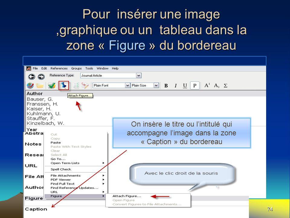 Pour insérer une image ,graphique ou un tableau dans la zone « Figure » du bordereau