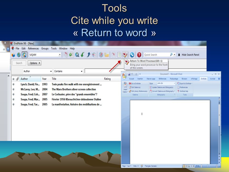 Tools Cite while you write « Return to word »