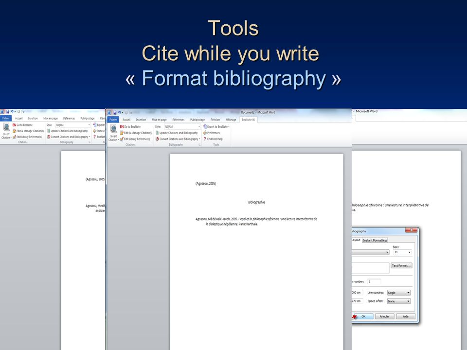 Tools Cite while you write « Format bibliography »