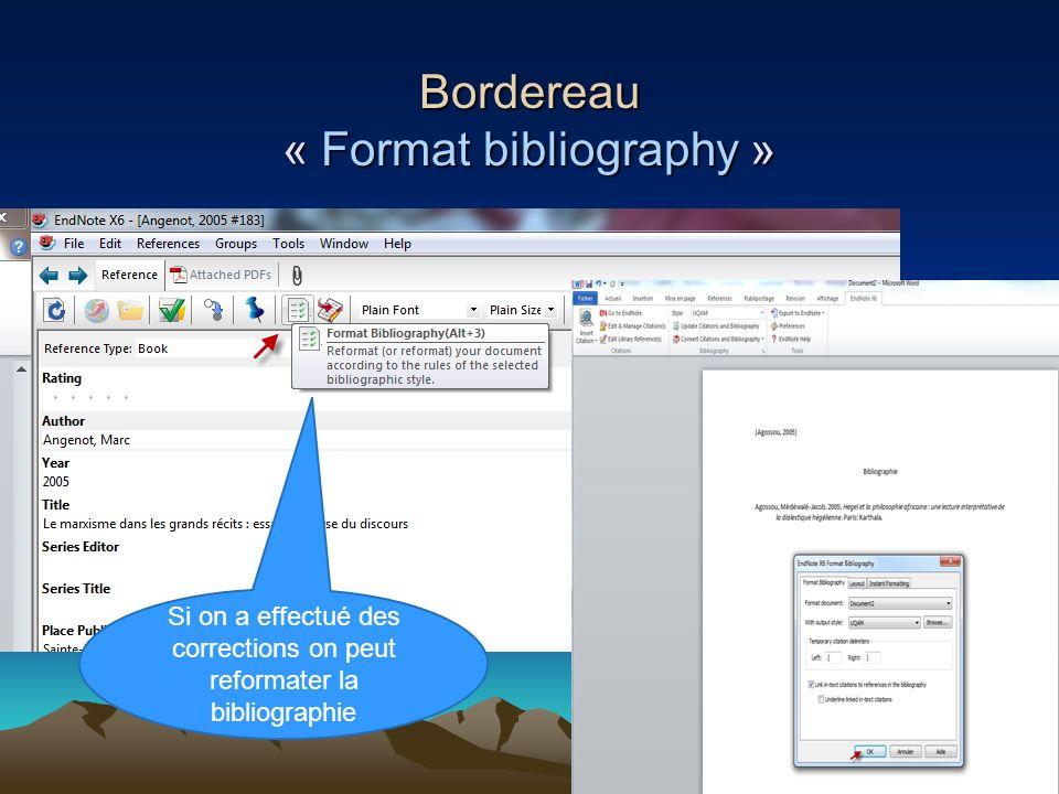Bordereau « Format bibliography »