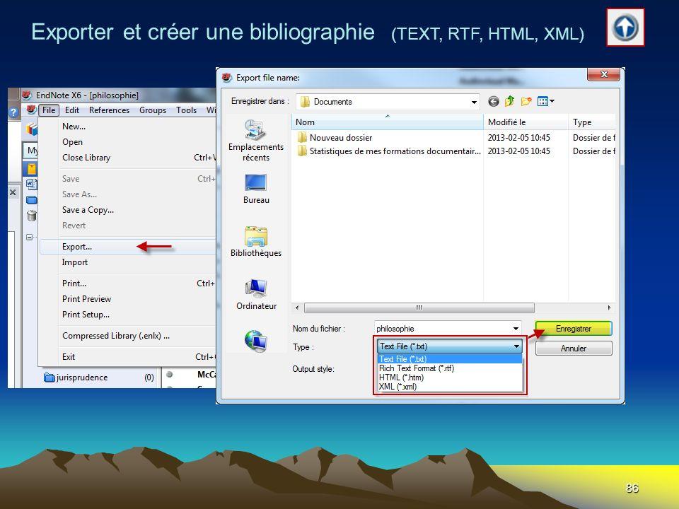 Exporter et créer une bibliographie (TEXT, RTF, HTML, XML)
