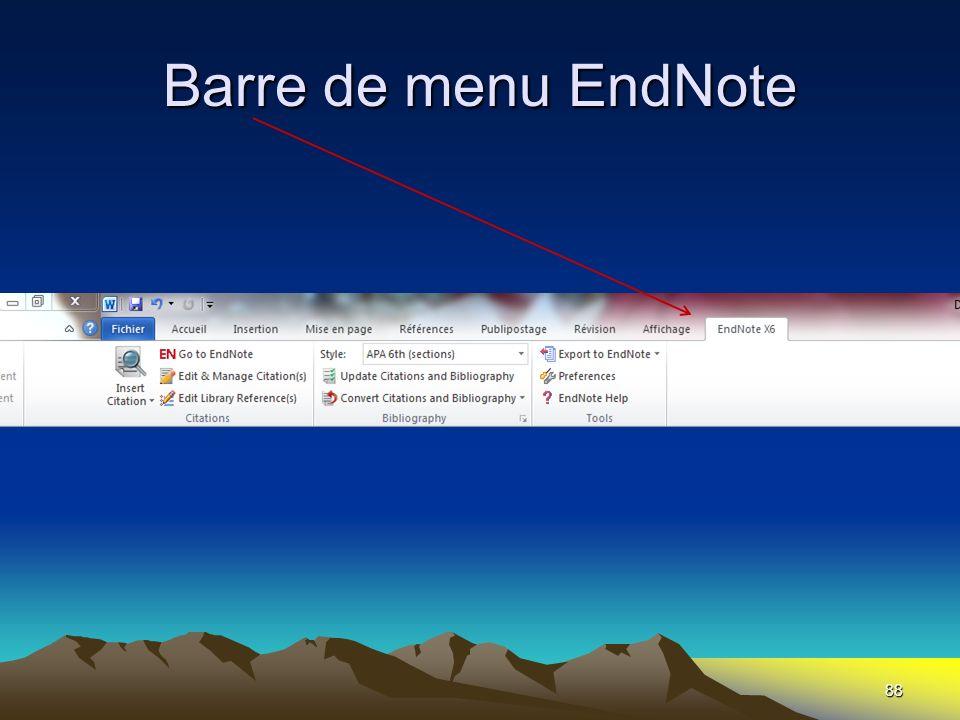 Barre de menu EndNote