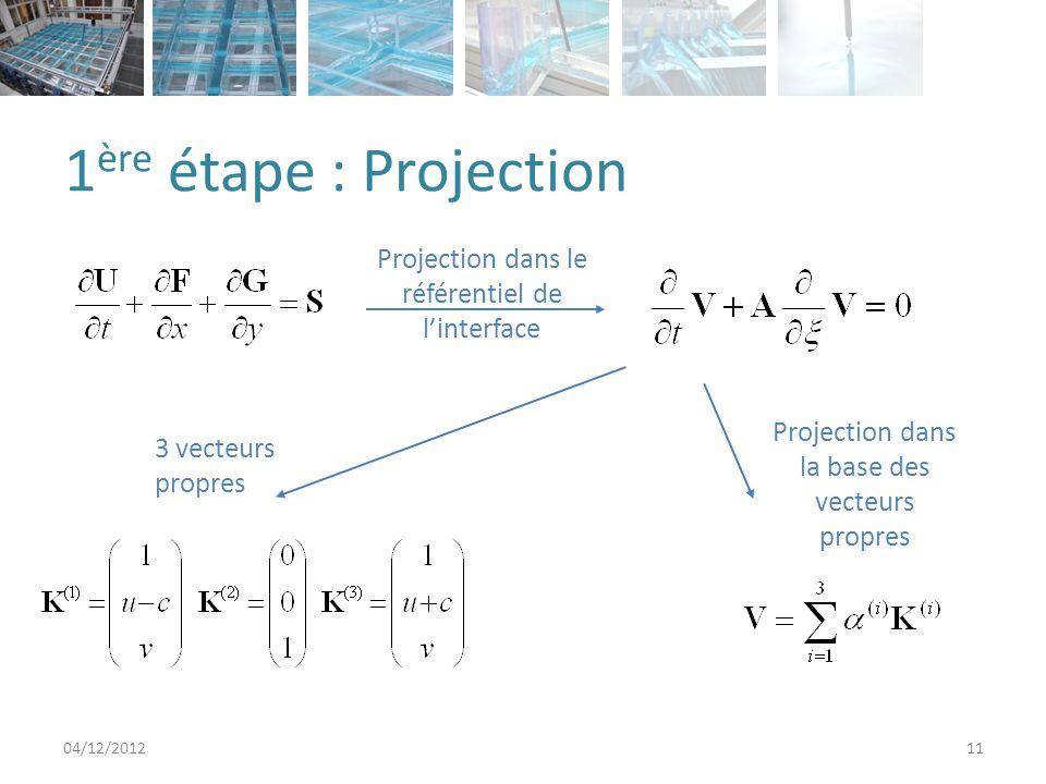 1ère étape : Projection Projection dans le référentiel de l'interface