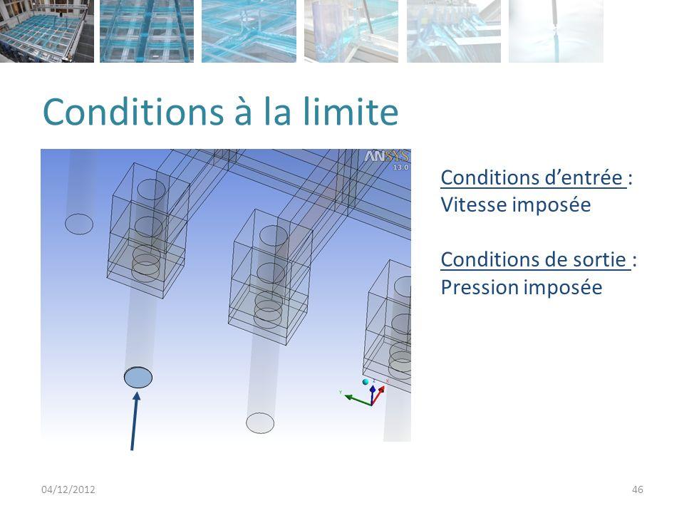 Conditions à la limite Conditions d'entrée : Vitesse imposée