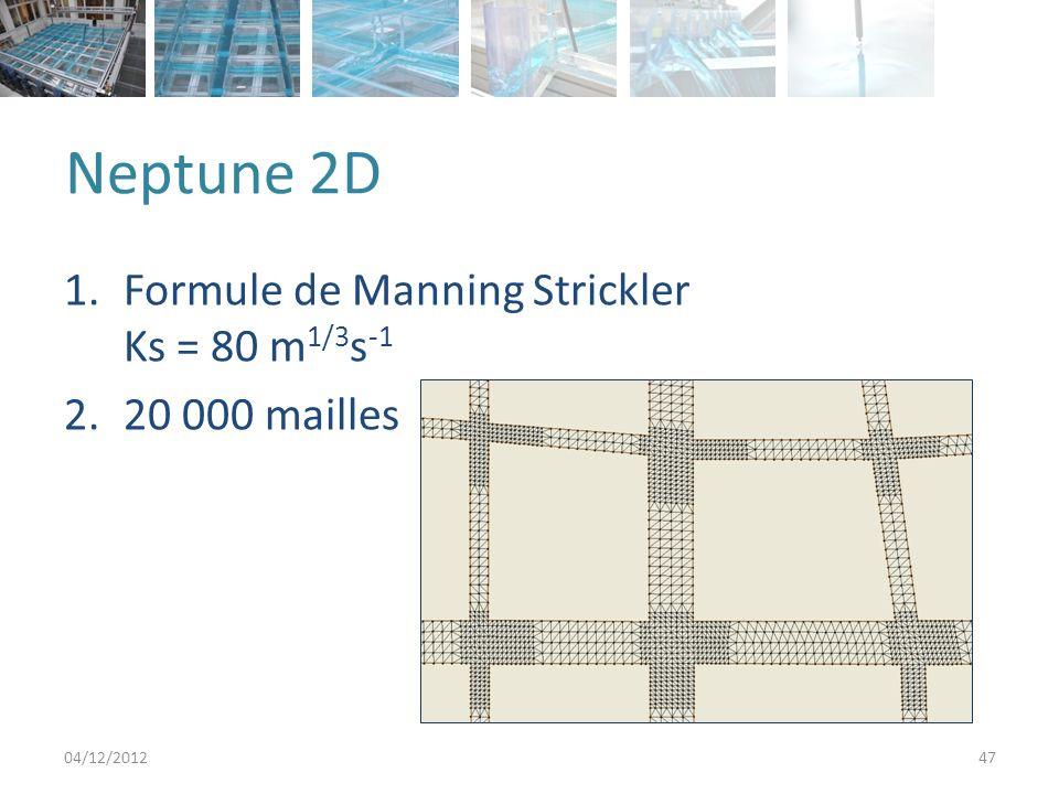 Neptune 2D Formule de Manning Strickler Ks = 80 m1/3s-1 20 000 mailles