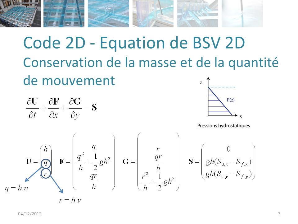 Code 2D - Equation de BSV 2D Conservation de la masse et de la quantité de mouvement