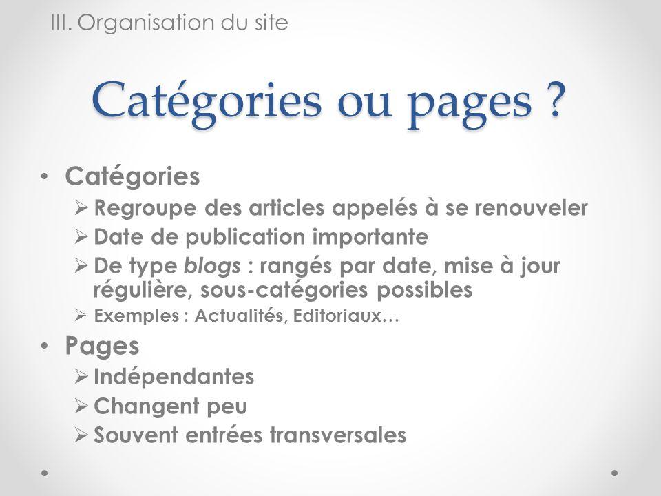 Catégories ou pages Catégories Pages III. Organisation du site