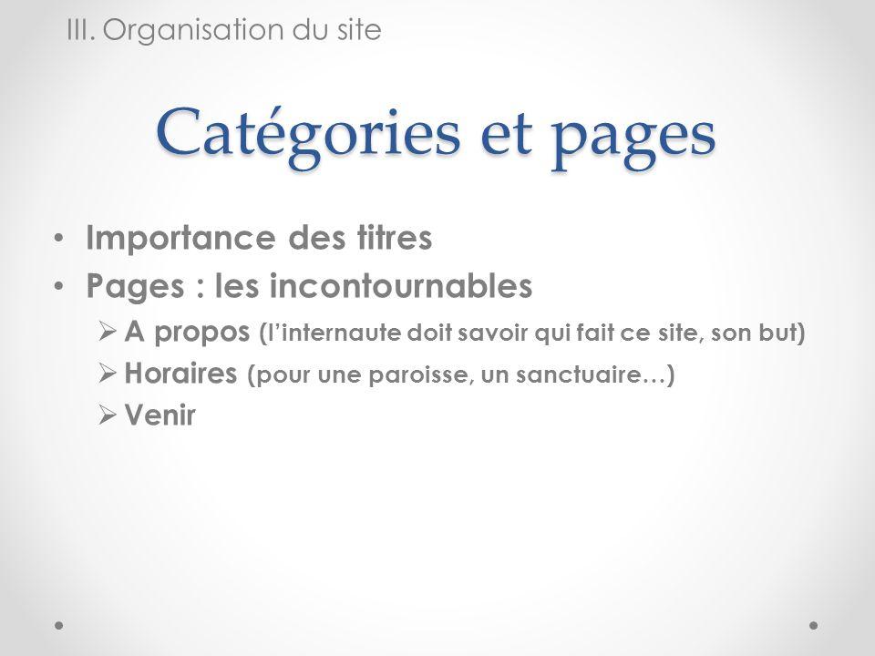 Catégories et pages Importance des titres Pages : les incontournables