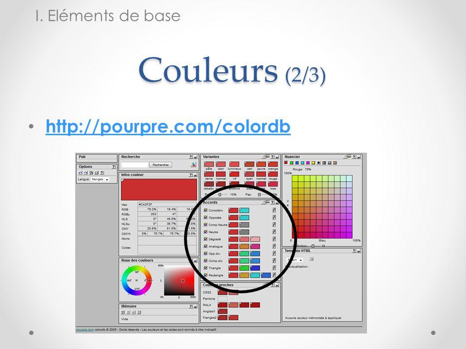 I. Eléments de base Couleurs (2/3) http://pourpre.com/colordb