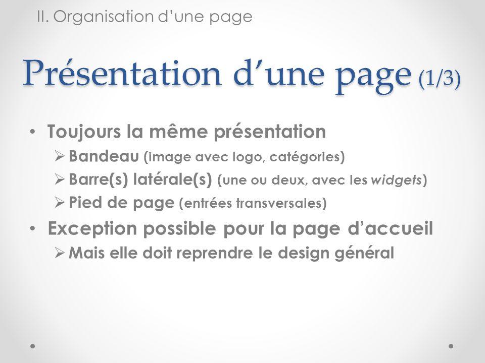 Présentation d'une page (1/3)