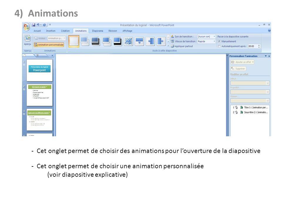4) Animations - Cet onglet permet d'ajouter du son et de choisir la vitesse de transition.